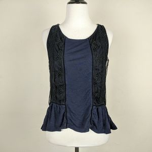American Eagle Outfitters Top Navy Blue Black Lace